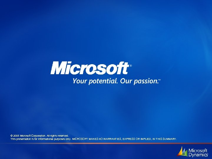 © 2005 Microsoft Corporation. All rights reserved. This presentation is for informational purposes only.