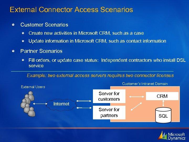 External Connector Access Scenarios Customer Scenarios Create new activities in Microsoft CRM, such as