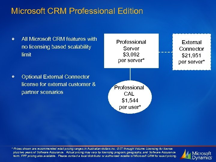 Microsoft CRM Professional Edition All Microsoft CRM features with no licensing based scalability limit