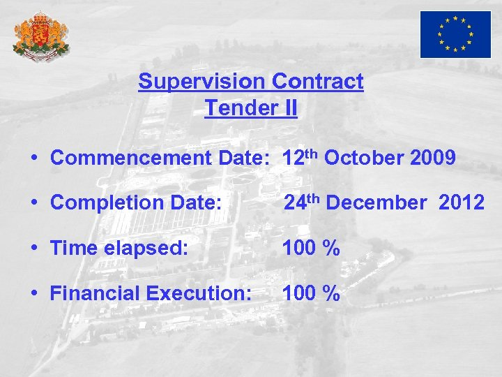 Supervision Contract Tender II • Commencement Date: 12 th October 2009 • Completion Date: