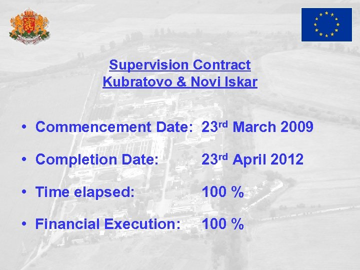 Supervision Contract Kubratovo & Novi Iskar • Commencement Date: 23 rd March 2009 •