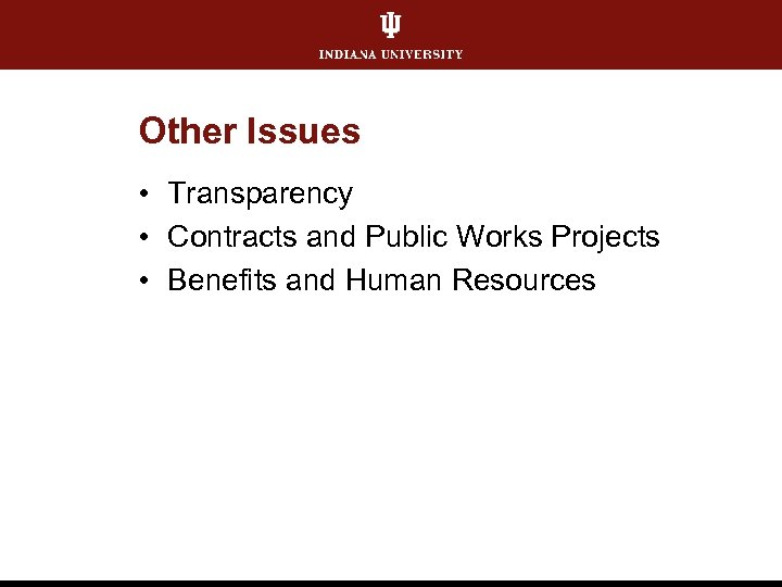 Other Issues • Transparency • Contracts and Public Works Projects • Benefits and Human