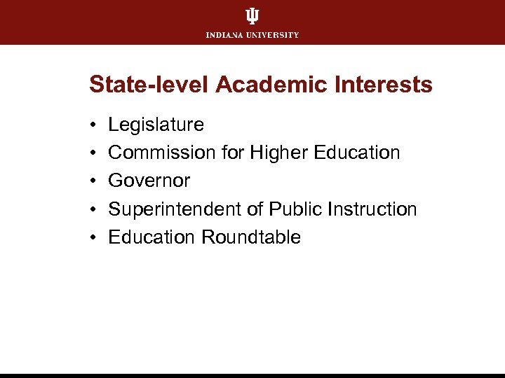 State-level Academic Interests • • • Legislature Commission for Higher Education Governor Superintendent of