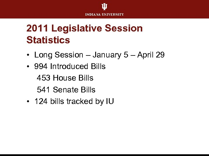 2011 Legislative Session Statistics • Long Session – January 5 – April 29 •