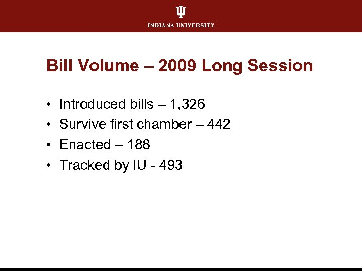 Bill Volume – 2009 Long Session • • Introduced bills – 1, 326 Survive