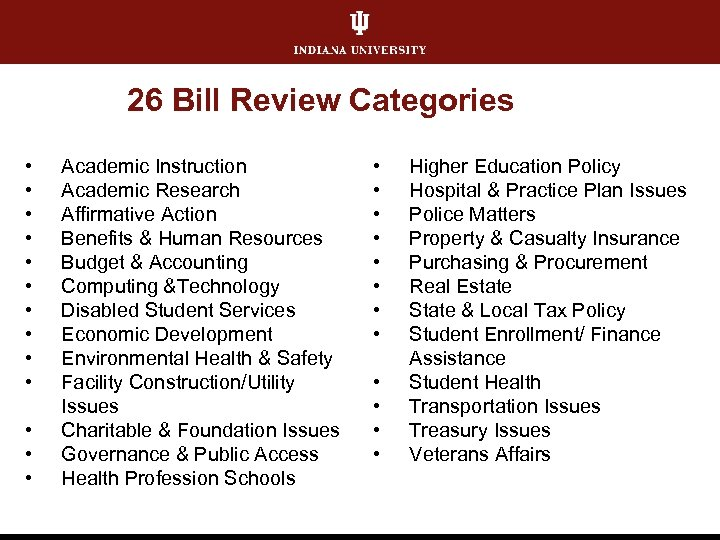 26 Bill Review Categories • • • • Academic Instruction Academic Research Affirmative Action