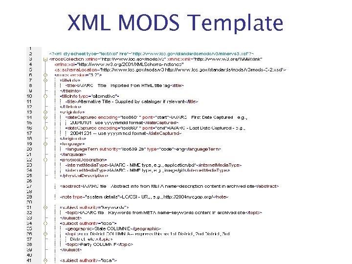 XML MODS Template