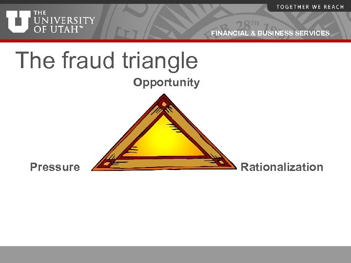 FINANCIAL & BUSINESS SERVICES The fraud triangle Opportunity Pressure Rationalization