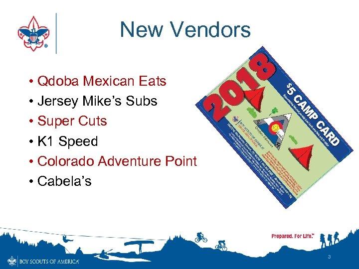 New Vendors • Qdoba Mexican Eats • Jersey Mike's Subs • Super Cuts •