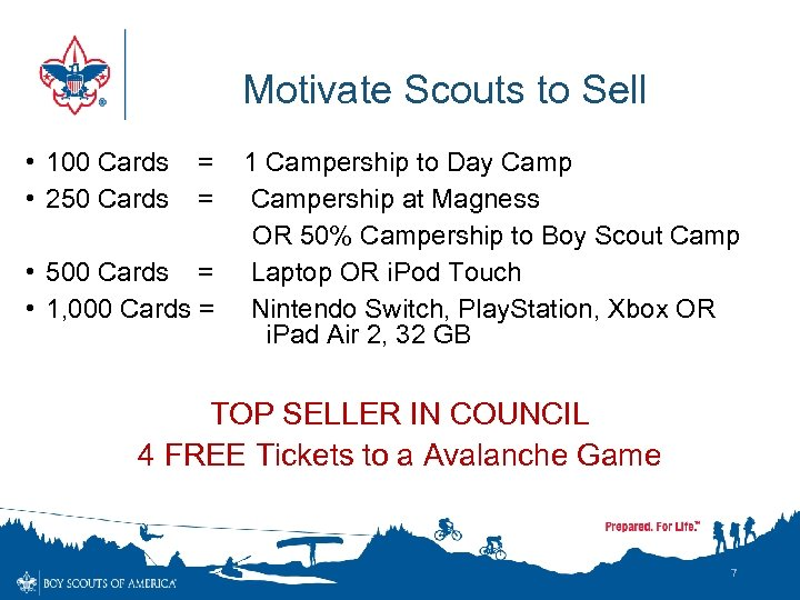 Motivate Scouts to Sell • 100 Cards • 250 Cards = = • 500