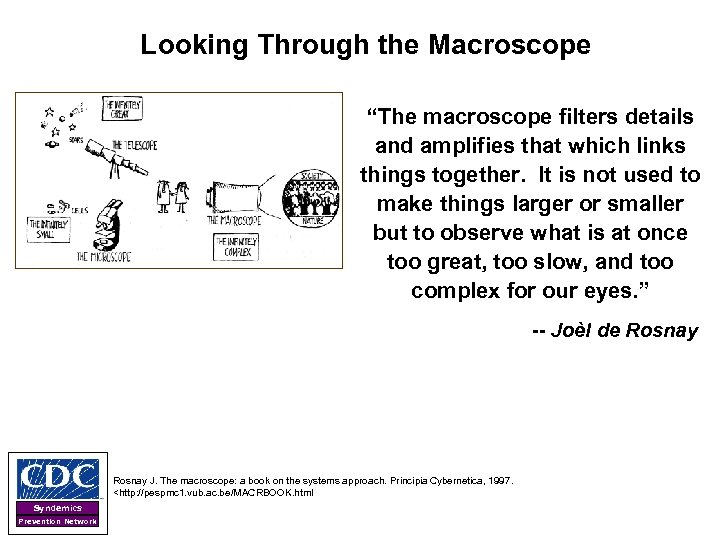 """Looking Through the Macroscope """"The macroscope filters details and amplifies that which links things"""