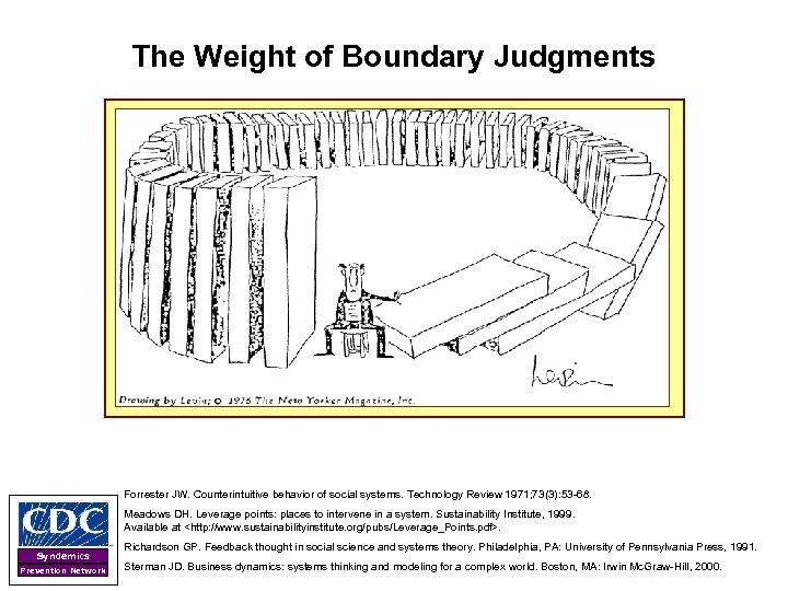 The Weight of Boundary Judgments Forrester JW. Counterintuitive behavior of social systems. Technology Review