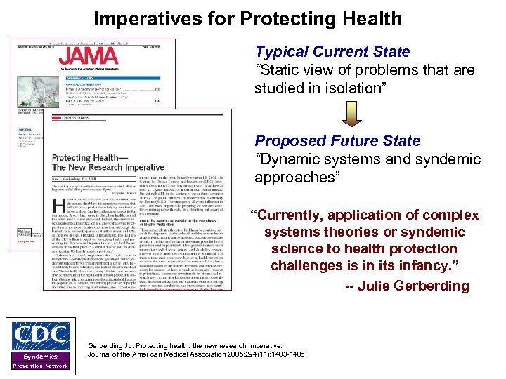 """Imperatives for Protecting Health Typical Current State """"Static view of problems that are studied"""