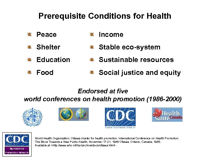 Prerequisite Conditions for Health Peace Income Shelter Stable eco-system Education Sustainable resources Food Social