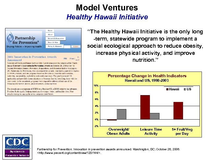 "Model Ventures Healthy Hawaii Initiative ""The Healthy Hawaii Initiative is the only long -term,"