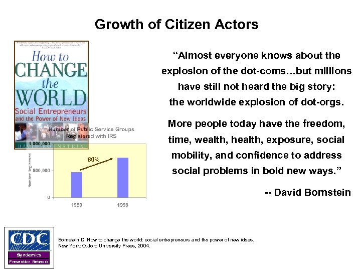 """Growth of Citizen Actors """"Almost everyone knows about the explosion of the dot-coms…but millions"""