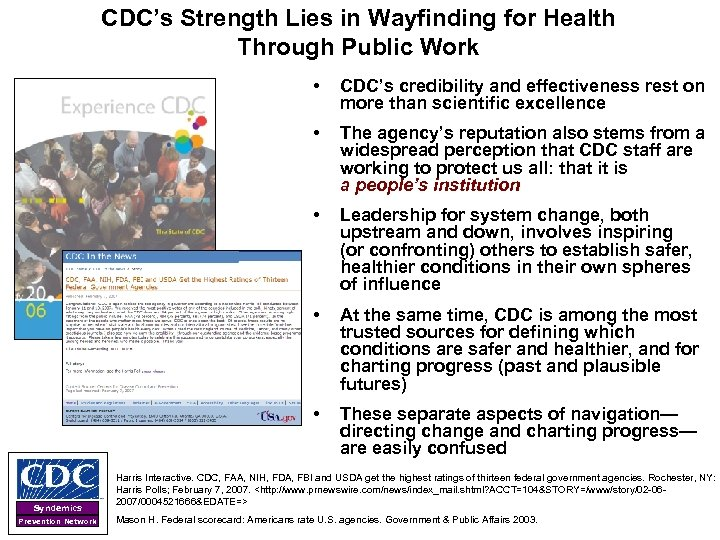 CDC's Strength Lies in Wayfinding for Health Through Public Work • • Leadership for