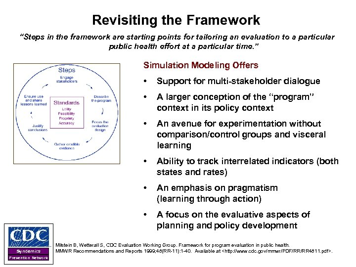 """Revisiting the Framework """"Steps in the framework are starting points for tailoring an evaluation"""