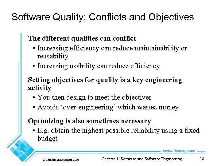 Software Quality: Conflicts and Objectives The different qualities can conflict • Increasing efficiency can