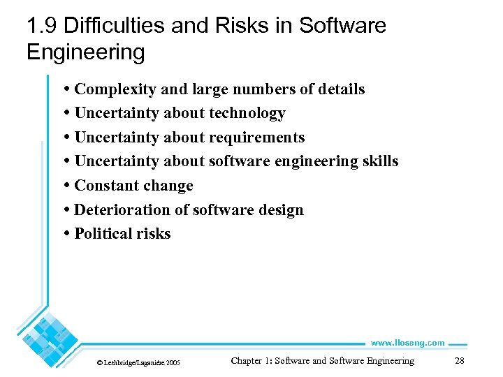 1. 9 Difficulties and Risks in Software Engineering • Complexity and large numbers of
