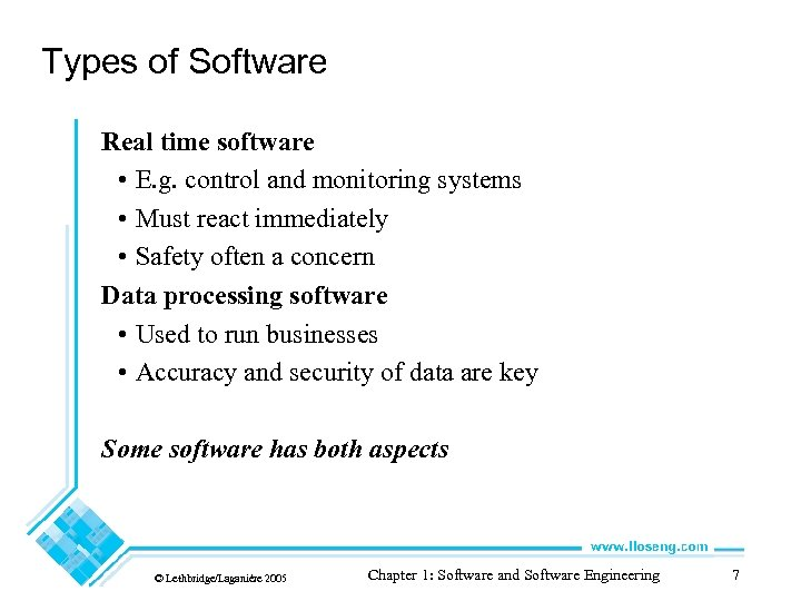 Types of Software Real time software • E. g. control and monitoring systems •