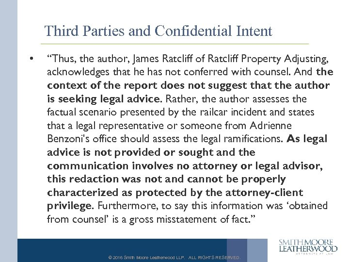 "Third Parties and Confidential Intent • ""Thus, the author, James Ratcliff of Ratcliff Property"