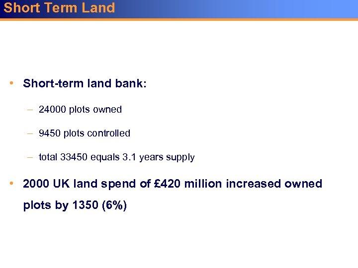 Short Term Land • Short-term land bank: – 24000 plots owned – 9450 plots