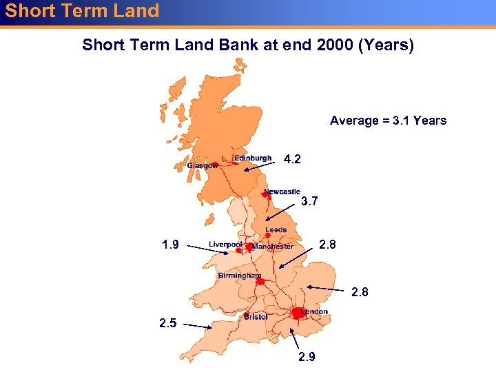Short Term Land Bank at end 2000 (Years) Average = 3. 1 Years 4.