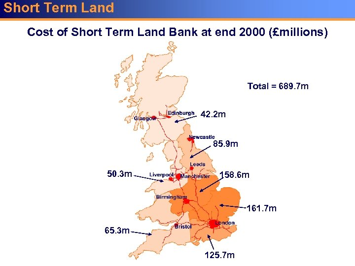 Short Term Land Cost of Short Term Land Bank at end 2000 (£millions) Total