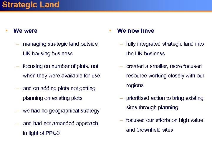 Strategic Land • We were – managing strategic land outside UK housing business –