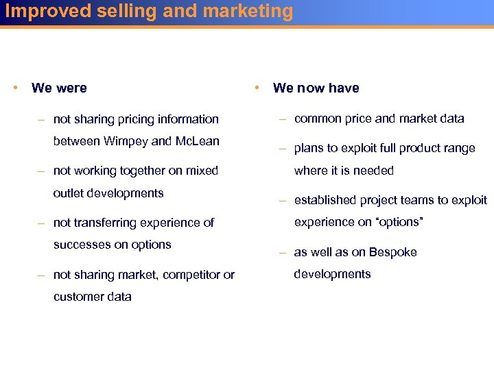 Improved selling and marketing • We were – not sharing pricing information between Wimpey