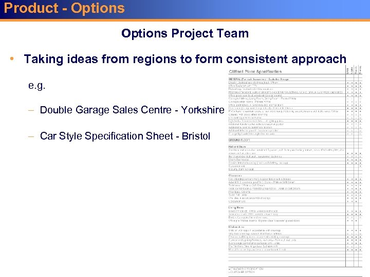 Product - Options Project Team • Taking ideas from regions to form consistent approach