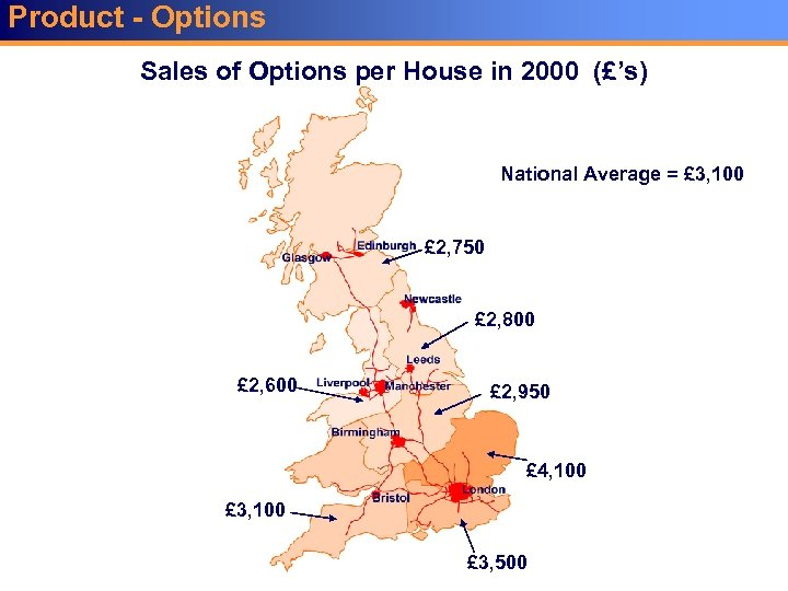 Product - Options Sales of Options per House in 2000 (£'s) National Average =