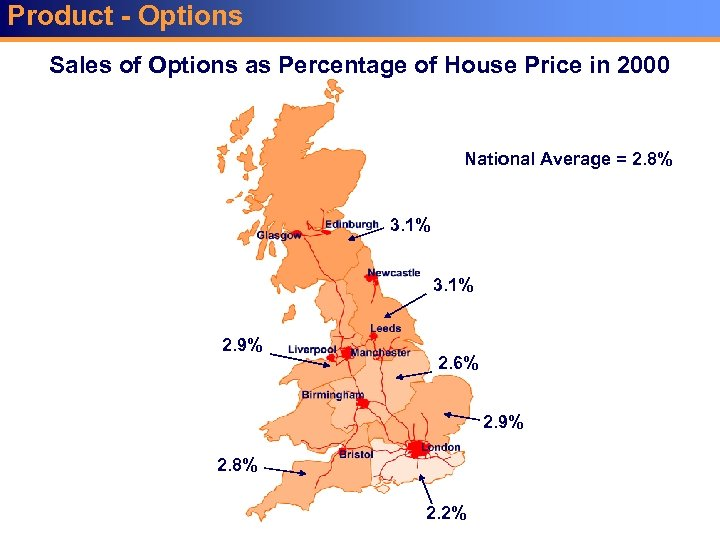 Product - Options Sales of Options as Percentage of House Price in 2000 National