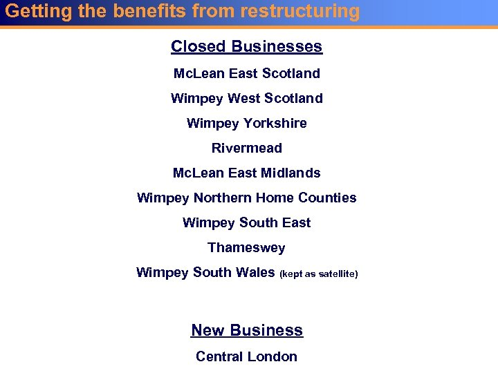 Getting the benefits from restructuring Closed Businesses Mc. Lean East Scotland Wimpey West Scotland