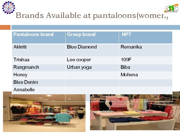 Brands Available at pantaloons(women) Pantaloons brand Group brand NPT Akkriti Blue Diamond Remanika Trishaa