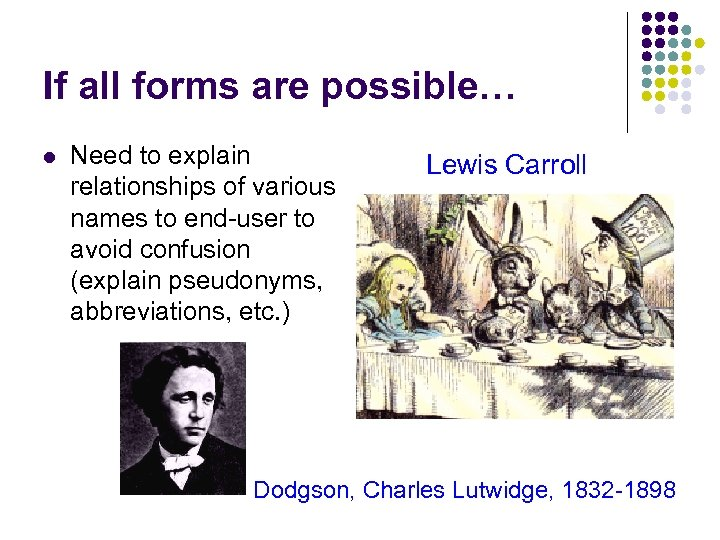 If all forms are possible… l Need to explain relationships of various names to