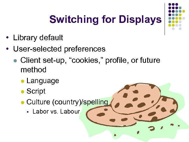 """Switching for Displays • Library default • User-selected preferences l Client set-up, """"cookies, """""""