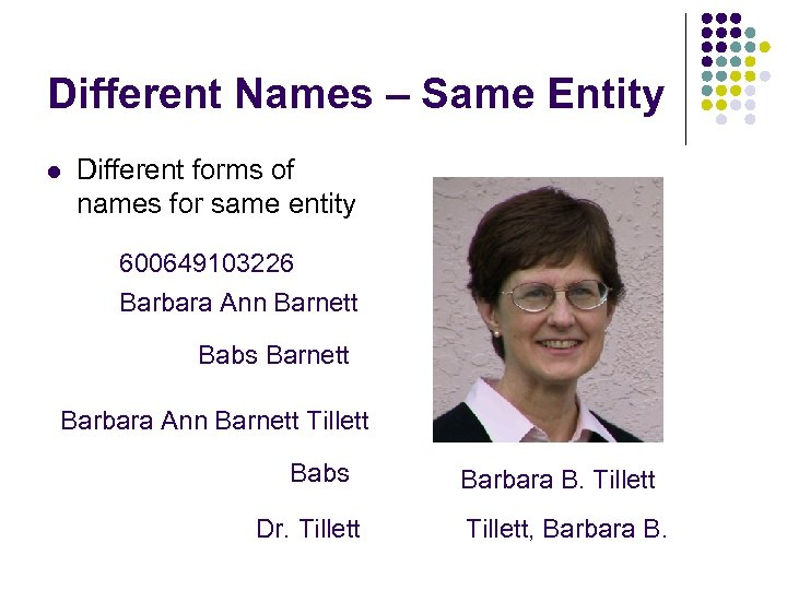 Different Names – Same Entity l Different forms of names for same entity 600649103226