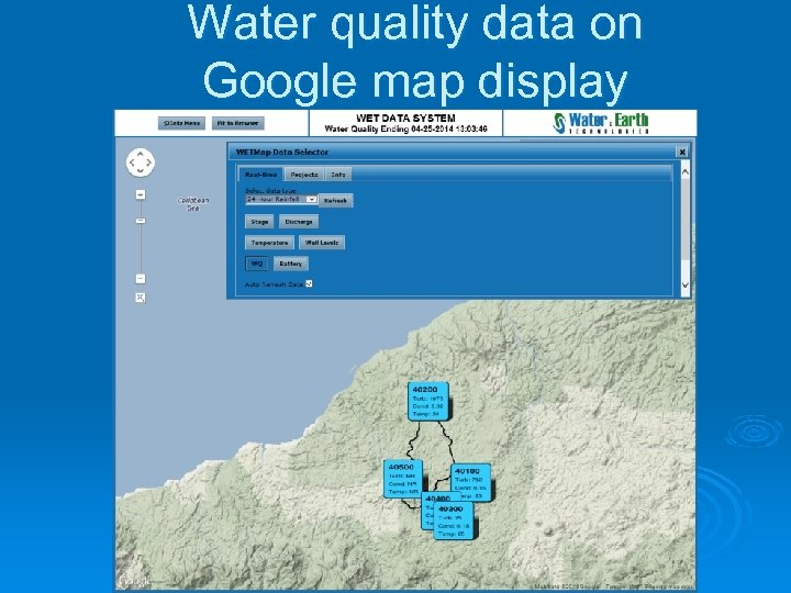 Water quality data on Google map display