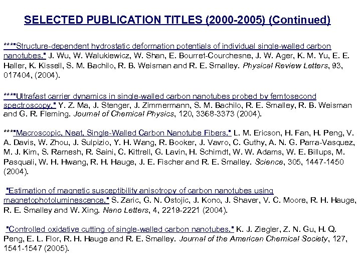 SELECTED PUBLICATION TITLES (2000 -2005) (Continued) ***