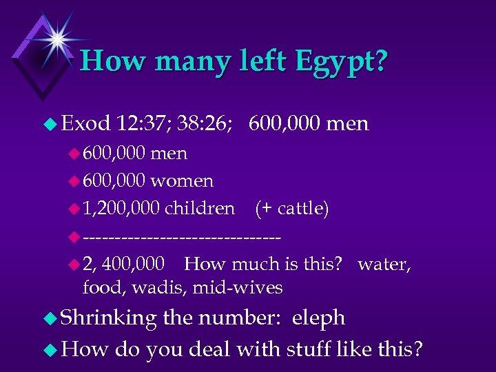 How many left Egypt? u Exod 12: 37; 38: 26; 600, 000 men u