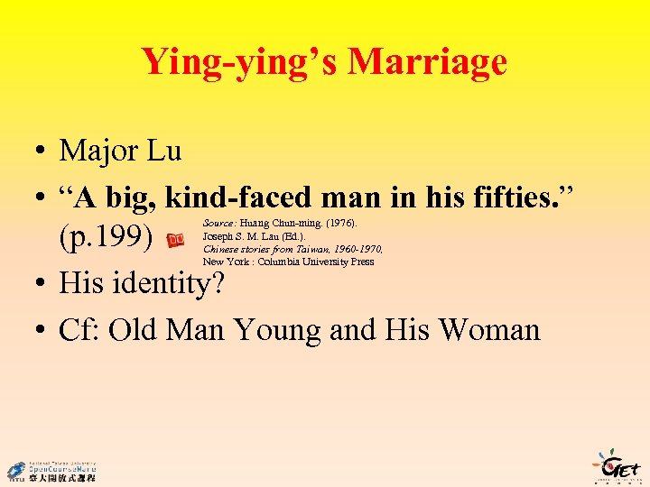 """Ying-ying's Marriage • Major Lu • """"A big, kind-faced man in his fifties. """""""