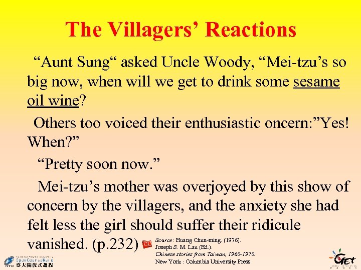 """The Villagers' Reactions """"Aunt Sung"""" asked Uncle Woody, """"Mei-tzu's so big now, when will"""