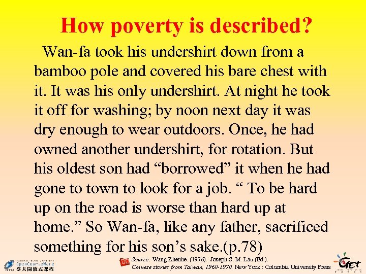How poverty is described? Wan-fa took his undershirt down from a bamboo pole and