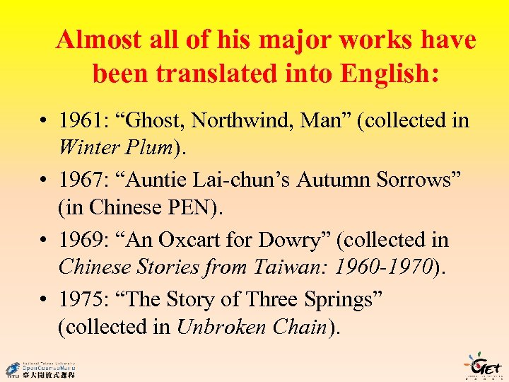 """Almost all of his major works have been translated into English: • 1961: """"Ghost,"""