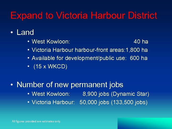 Expand to Victoria Harbour District • Land • • West Kowloon: 40 ha Victoria