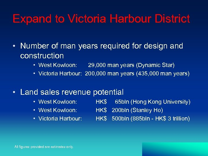Expand to Victoria Harbour District • Number of man years required for design and