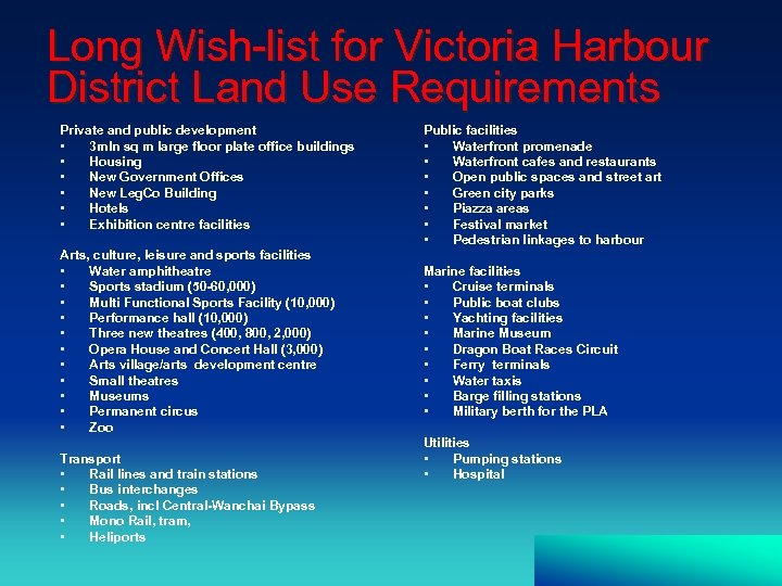 Long Wish-list for Victoria Harbour District Land Use Requirements Private and public development •