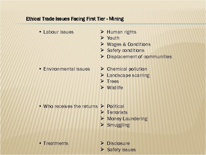 Ethical Trade Issues Facing First Tier - Mining • Labour issues Ø Ø Ø